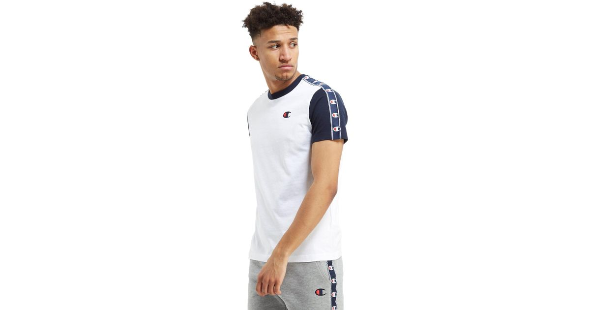 acf8763a ... lyst champion tape t shirt in blue for men ...