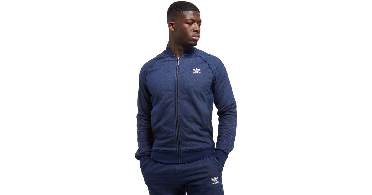 Adidas Originals Superstar Denim Track Top In Blue For Men Lyst