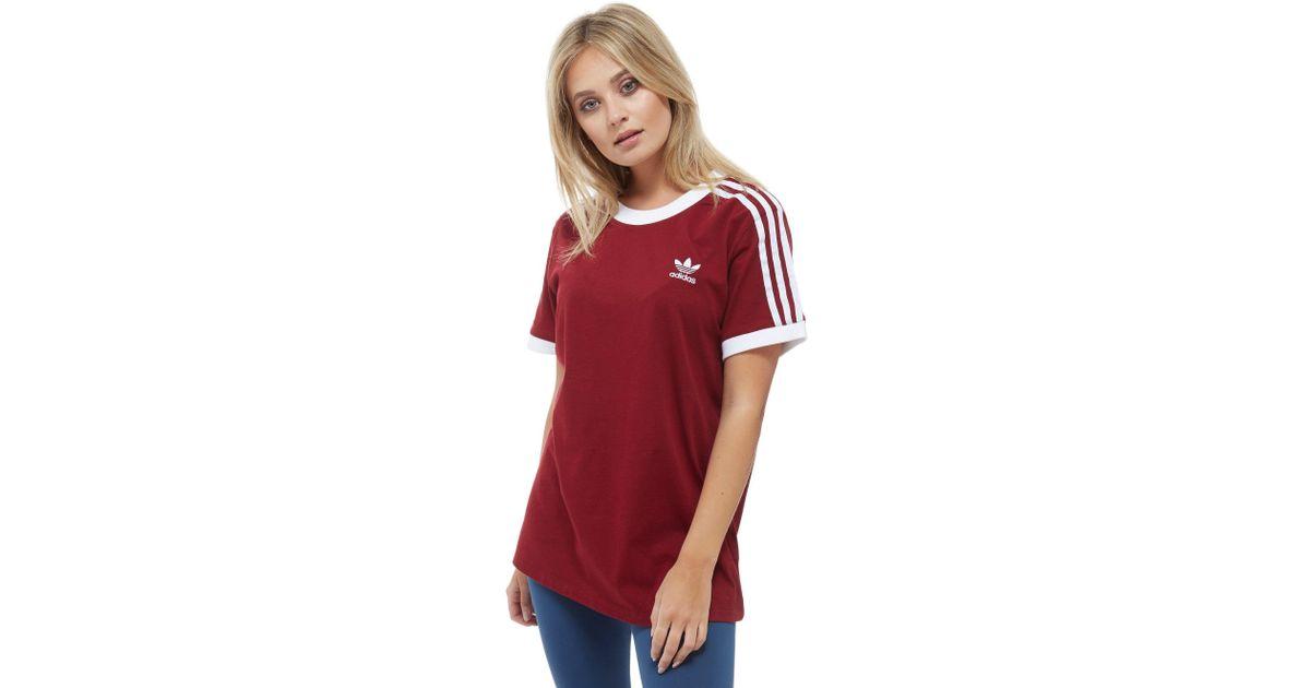 7357bff58a adidas 3 Stripe Cali T-shirt in Red - Lyst