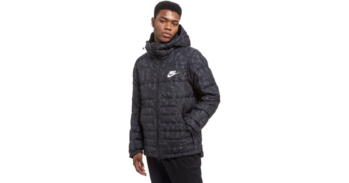 a82daea2fc75 Lyst - Nike Printed Down Fill Hooded Jacket in Black for Men