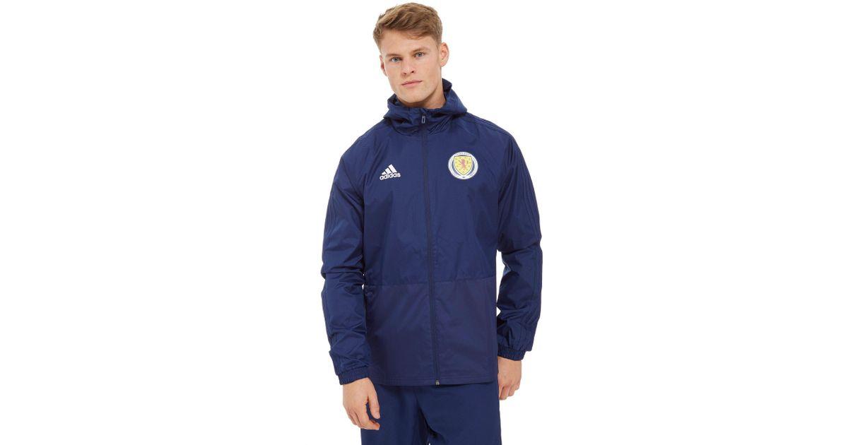 Lyst Adidas Scotland Fa 2018 Rain Jacket In Blue For Men