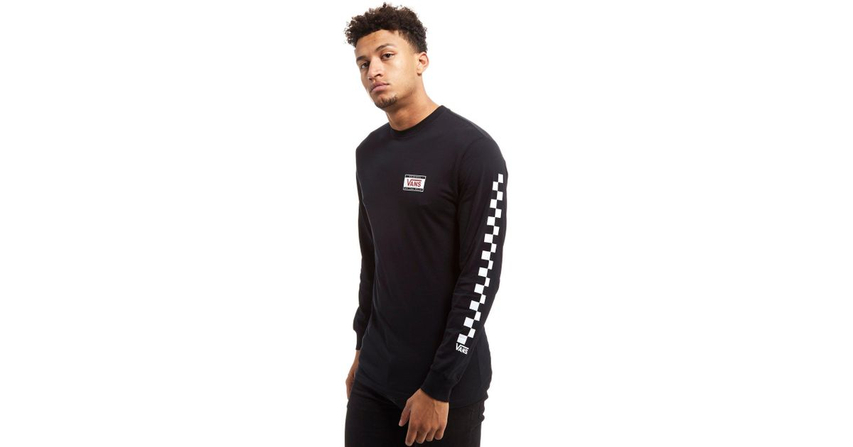 8aab7c650d Lyst - Vans Checkerboard Long Sleeve T-shirt in Black for Men
