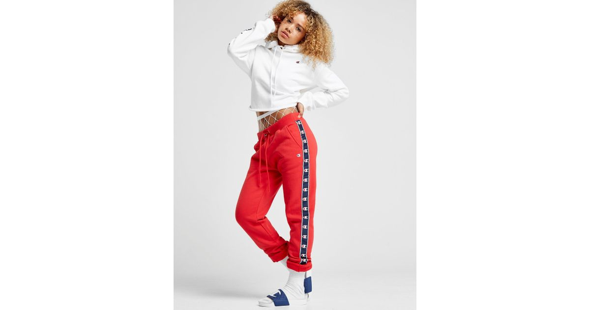 95e0a03da890 Champion Tape Fleece Pants in Red - Lyst