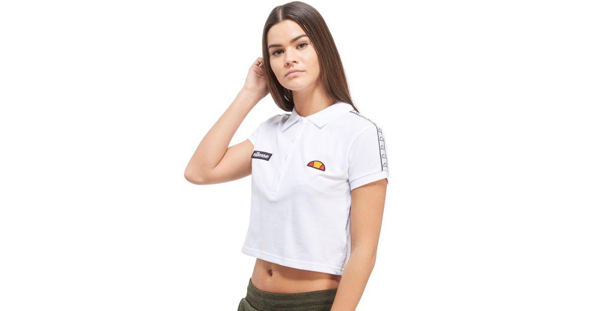 c81e3297bdd Ellesse Marsa Tape Crop Polo Shirt in White - Lyst