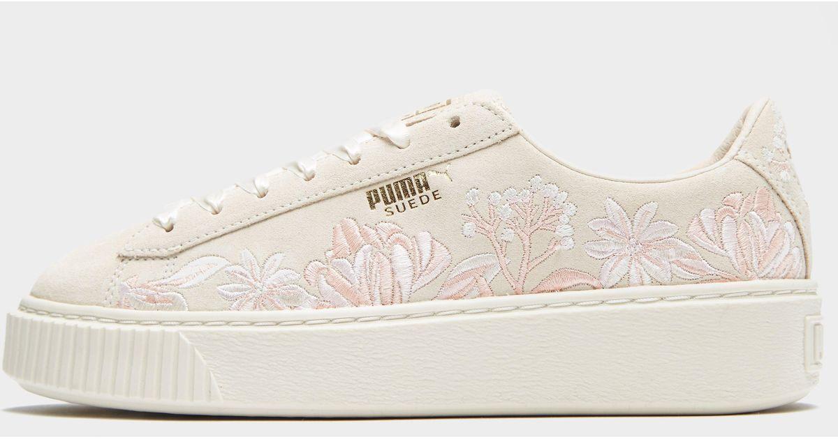 puma suede platform flowery