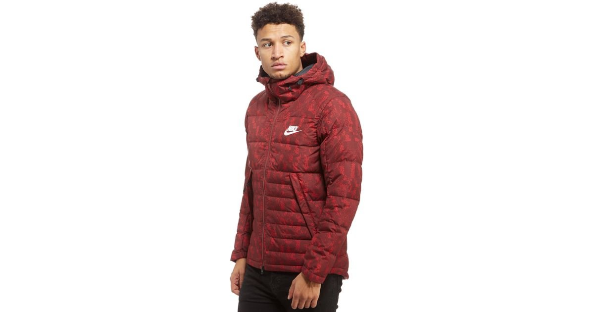 cec61bee Nike Printed Down Fill Hooded Jacket in Red for Men - Lyst