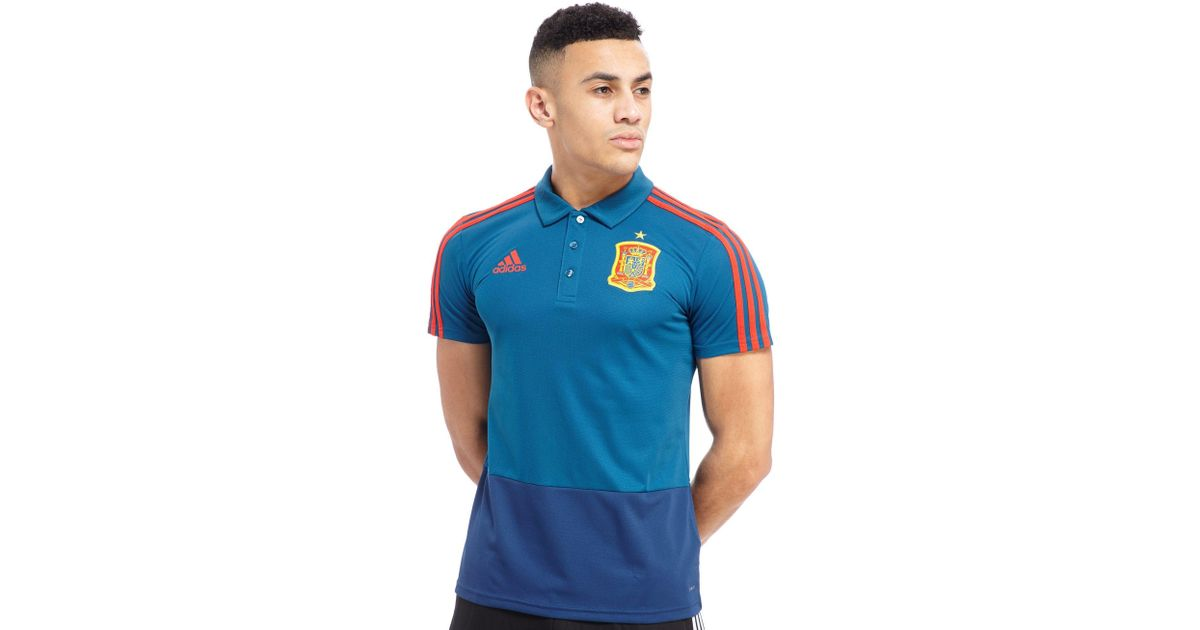 Lyst adidas spain 2018 polo shirt in blue for men for Spain polo shirt 2014