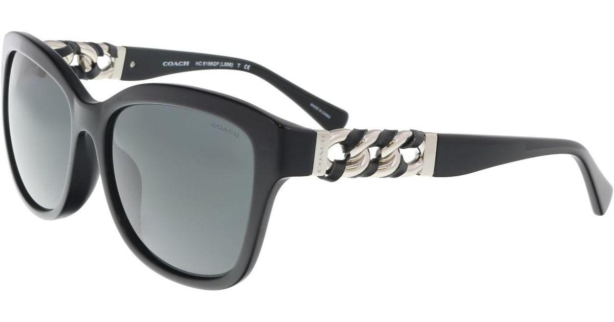 20869e82f5cd7 Lyst - COACH Hc8156qf 500211 Round Sunglasses in Black
