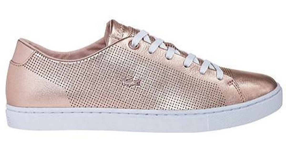 7b32967b88f8c8 Lyst - Lacoste Showcourt Lace Up Sneaker in Pink