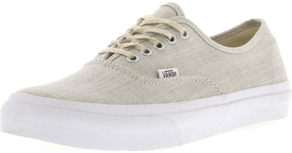 e49a908c447c Lyst - Vans Authentic Slim Chambray Gray   True White Canvas Skateboarding  Shoe in White for Men