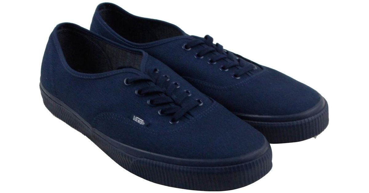 78d87bcd2e1559 Lyst - Vans Authentic Mono Dress Navy Lace Up Sneakers in Blue for Men