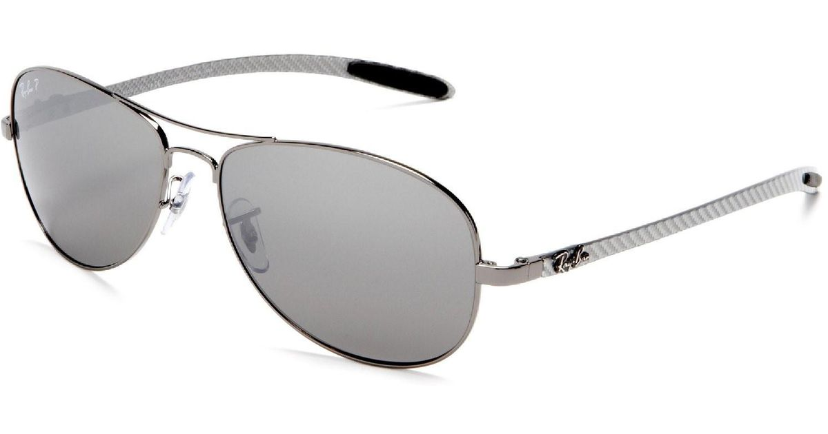 9478679b7a001 ... order lyst ray ban 0rb8301 004 k6 59 shiny gunmetal blue mirror silver  polar tech sunglasses