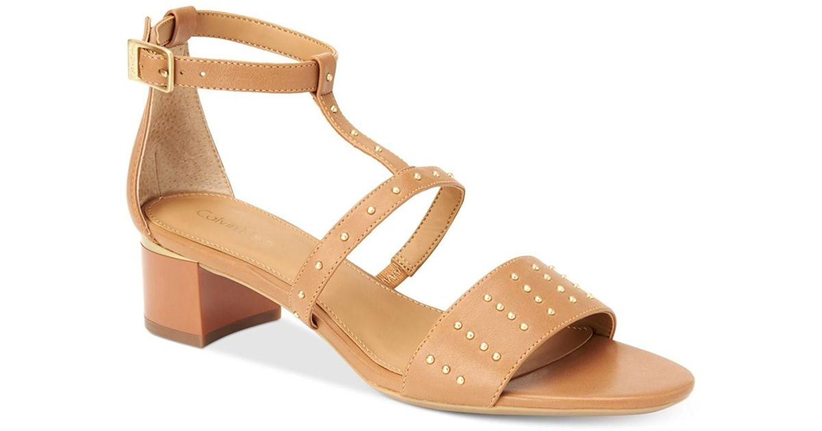 ed34c833567 Lyst - Calvin Klein Divina Open Toe Ankle Strap D-orsay New Caramel