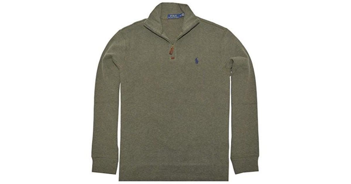 072af4d16f3 Lyst - Polo Ralph Lauren Half Zip French Rib Cotton Sweater (alpine Heather  in Blue for Men