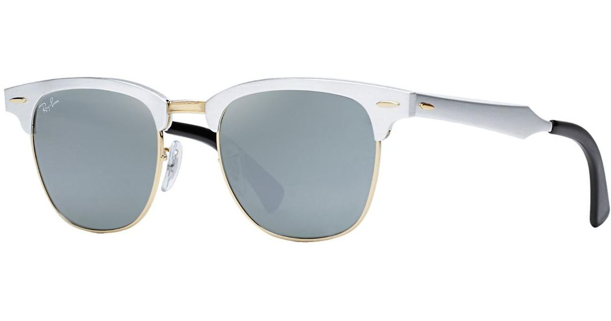14cff5c9b7 Lyst - Ray-Ban 0rb3507 137 40 51 Brushed Silver arista grey Mirror Clubmaster  Aluminum Icons Sunglasses in Gray