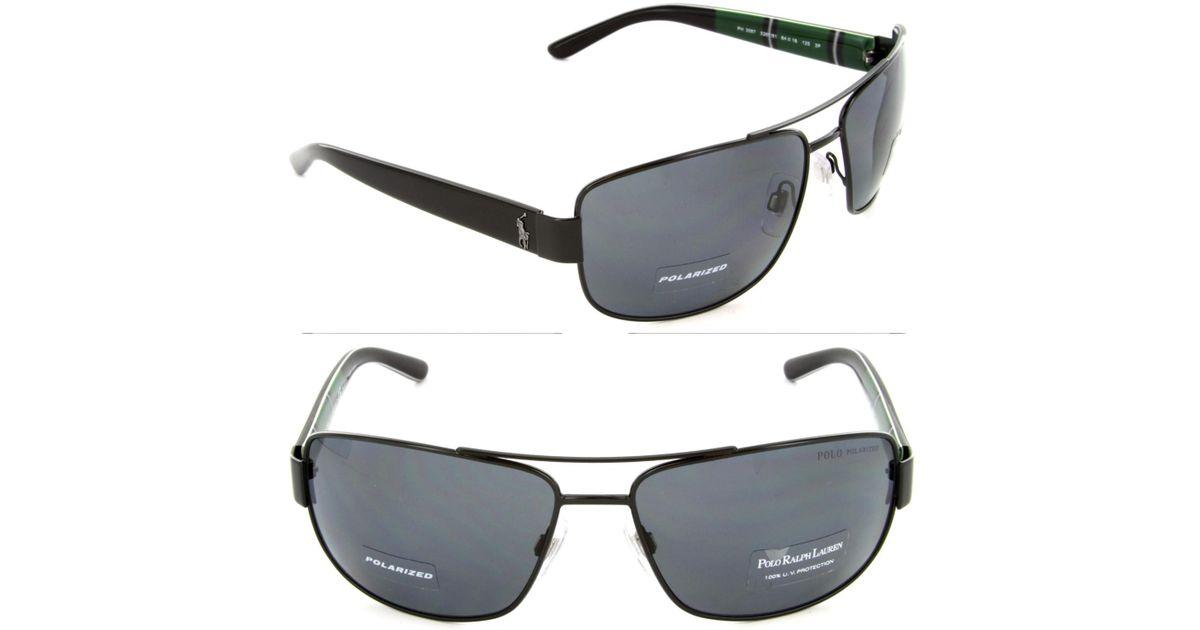 79ecc4c035c Lyst - Polo Ralph Lauren Ph3087 Ph 3087 9267 81 Black Pilot Polarized  Sunglasses 64mm in Black for Men