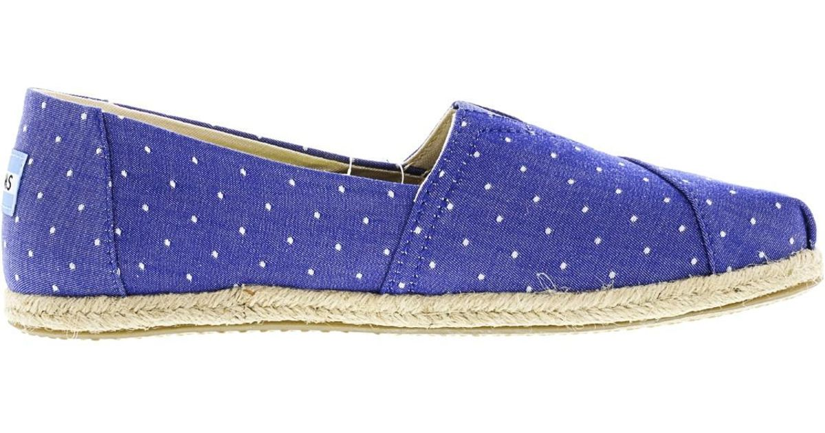 Toms Women'S Classic Chambray Rope Sole Imperial Blue Dot Ankle-High Canvas Slip-on Shoes - 8M JKMkwau3BQ