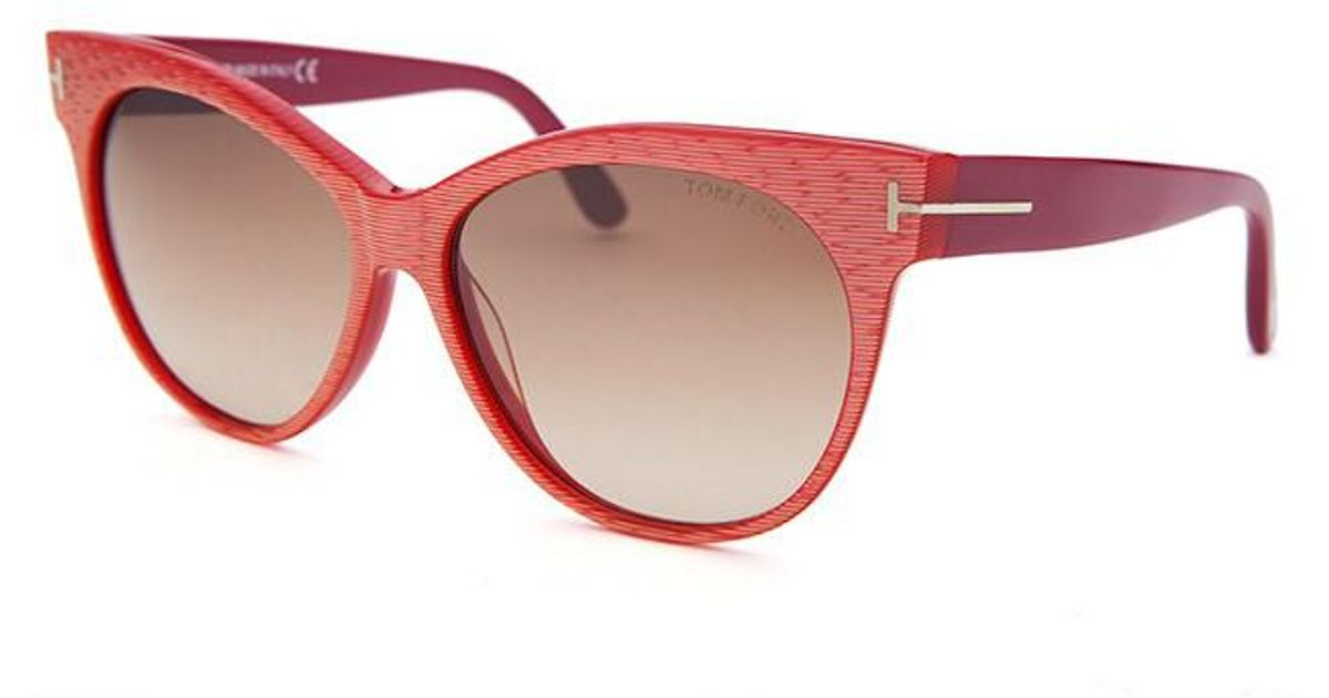 96494a86c9c Lyst - Tom Ford Ft0330 57mm Saskia Cateye Sunglasses in Red