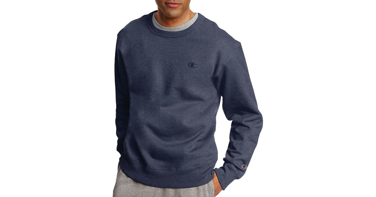 c3a5a36c871e Lyst - Champion Powerblend Reg Fleece Pullover Crew in Blue for Men