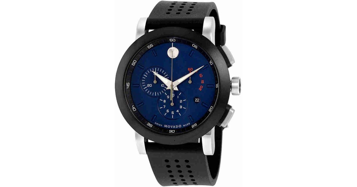Movado Museum Sport Chronograph Navy Blue Dial Black Rubber Watch 0607002 For Men Lyst