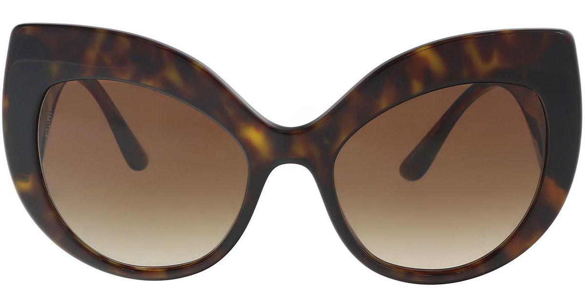 86433f5ca59b Lyst - Dolce   Gabbana Dg4321 502 13 Cat Eye Sunglasses in Brown