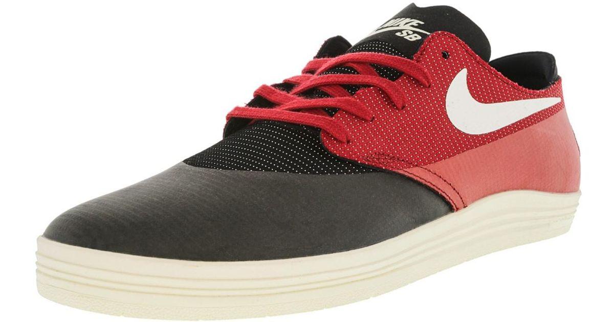 finest selection 79e92 c283d Lyst - Nike Lunar Oneshot Black   Ivory Gym Red Ankle-high Skateboarding  Shoe - 11m in Red for Men