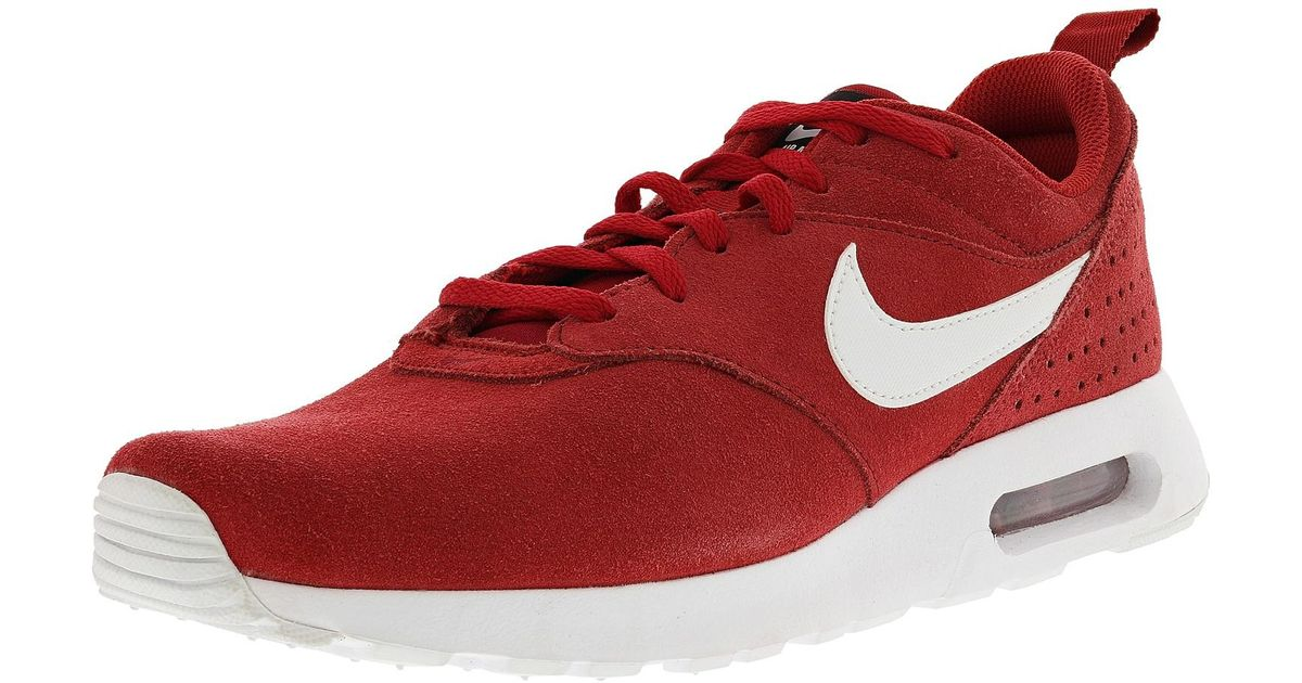 fdb8842a8411 ... promo code lyst nike air max tavas ltr gym red white black ankle high  leather fashion