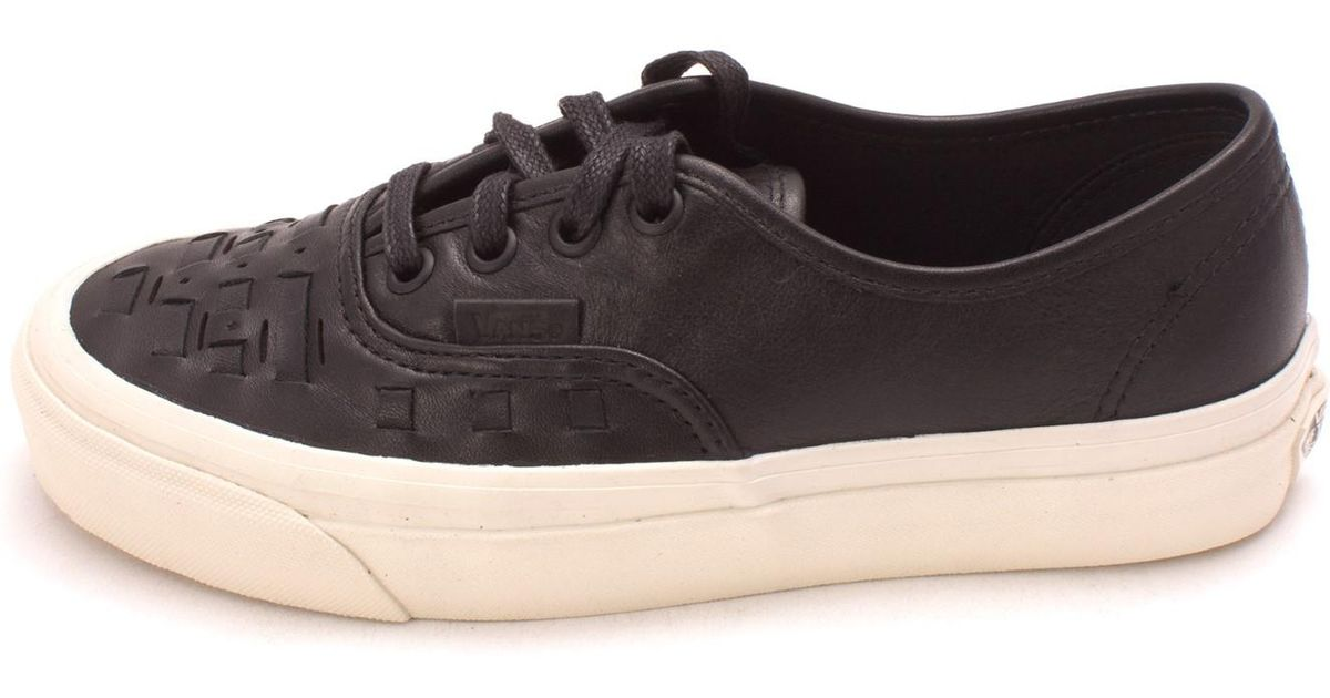 2278834a50 Lyst - Vans Authentic Weave D Leather Low Top Lace Up in Black