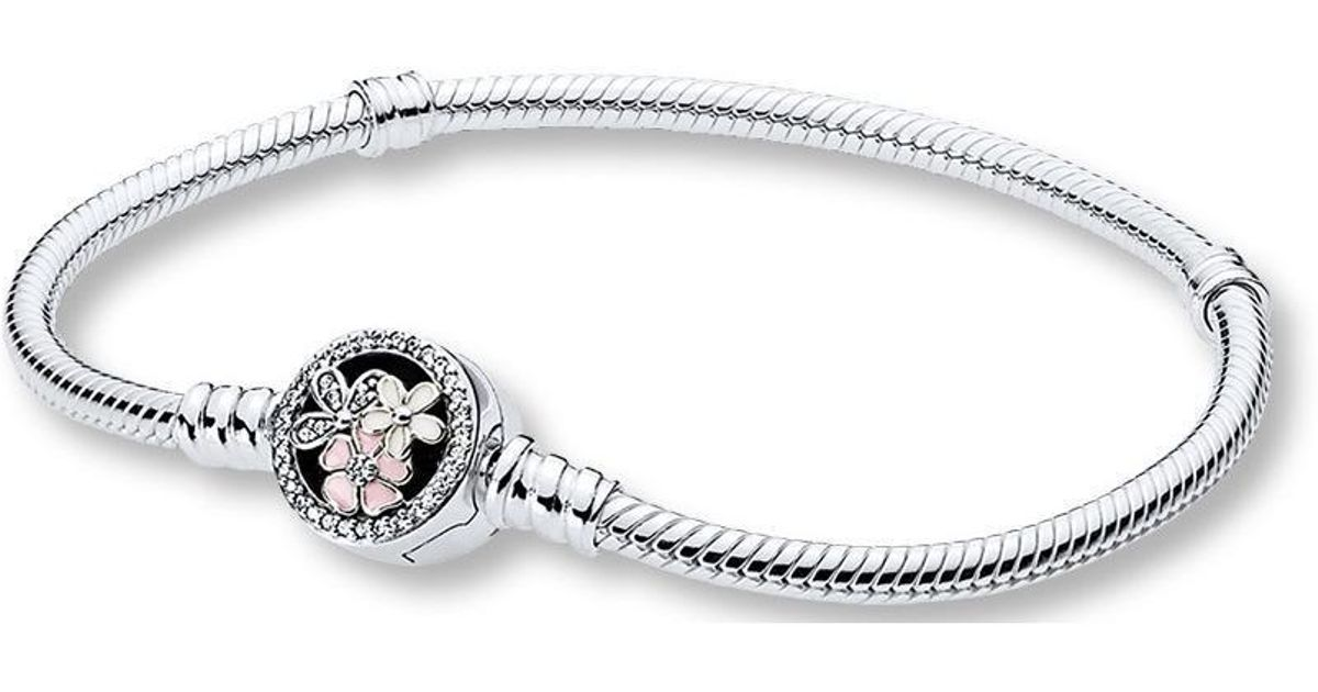 c23a6ae1c4228 Pandora - Metallic Moments Silver Bracelet With Poetic Blooms Clasp - Lyst