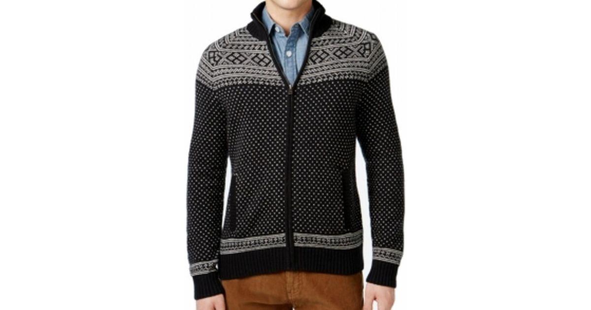 75843cf5d554 Lyst - Tommy Hilfiger Black Mens Size Large L Mock Neck Full Zip Sweater  for Men