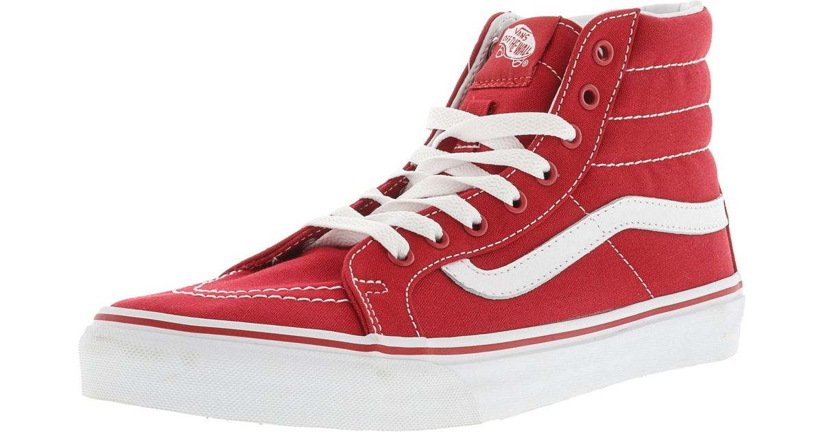 8c51c44862 Lyst - Vans Sk8-hi Slim Racing Red   True White Ankle-high Canvas  Skateboarding Shoe in Red for Men