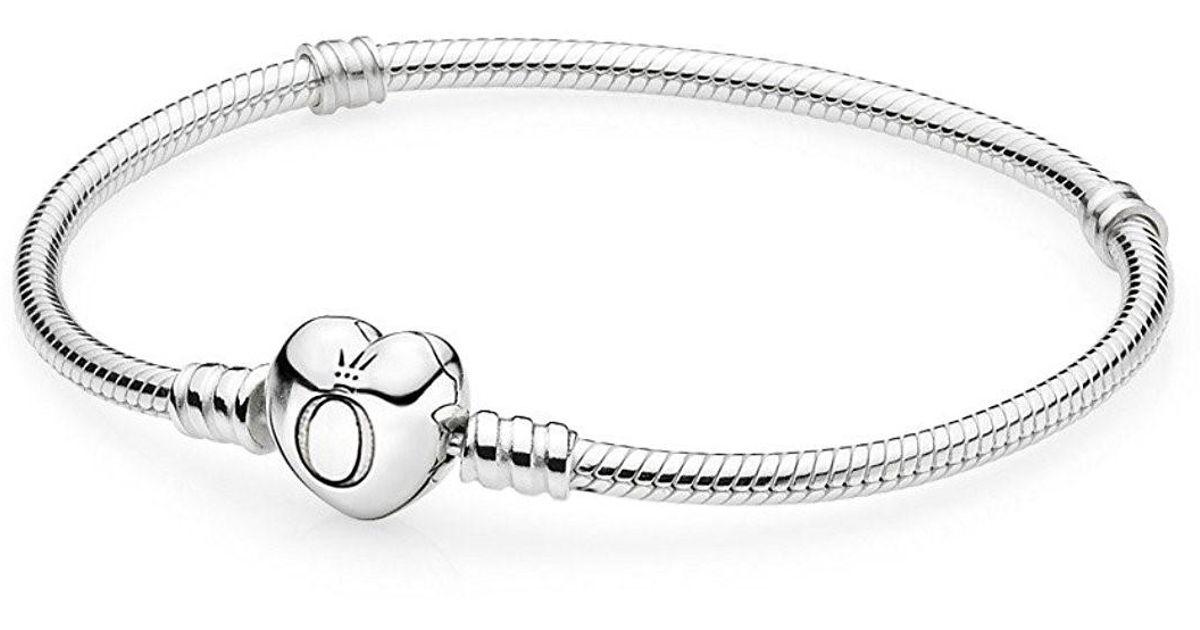 6d760e50b Lyst - PANDORA Mots Bracelet With Heart Clasp 17cm - 590719-17 in Metallic