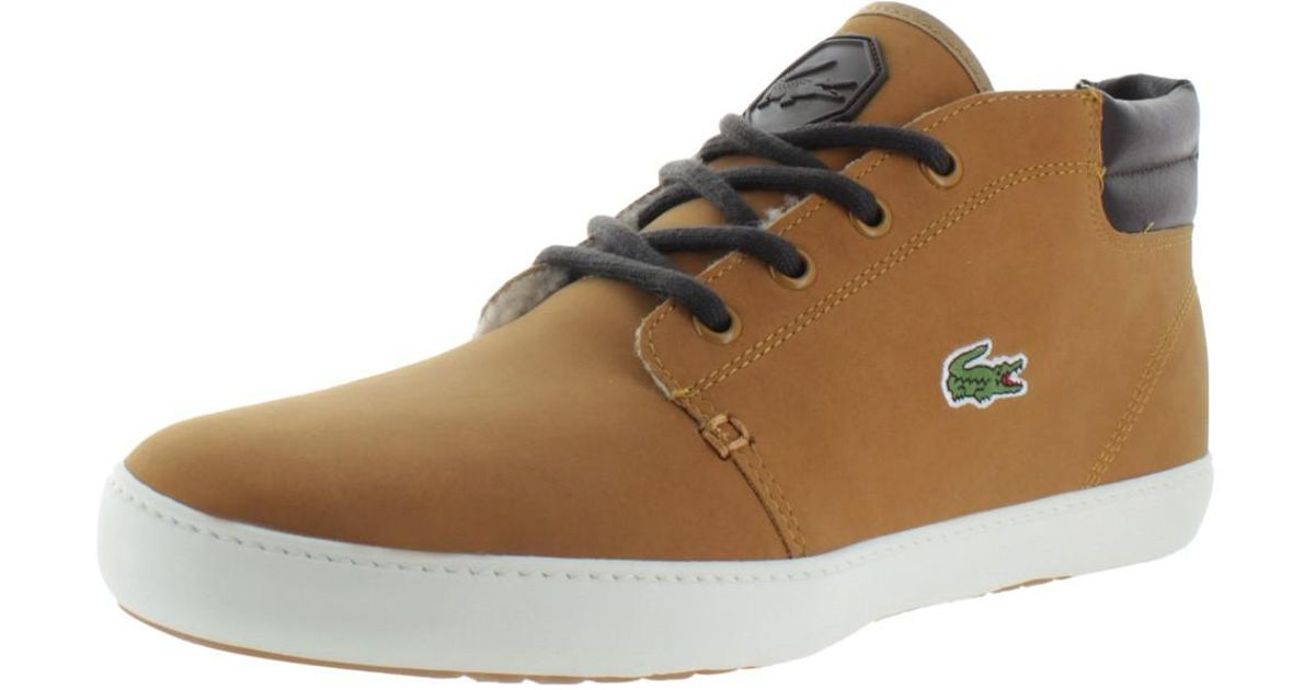 f2eb963f2 Lyst - Lacoste Ampthill Terra Put Fur Mid Top Sneakers Shoes in Brown for  Men - Save 18.75%