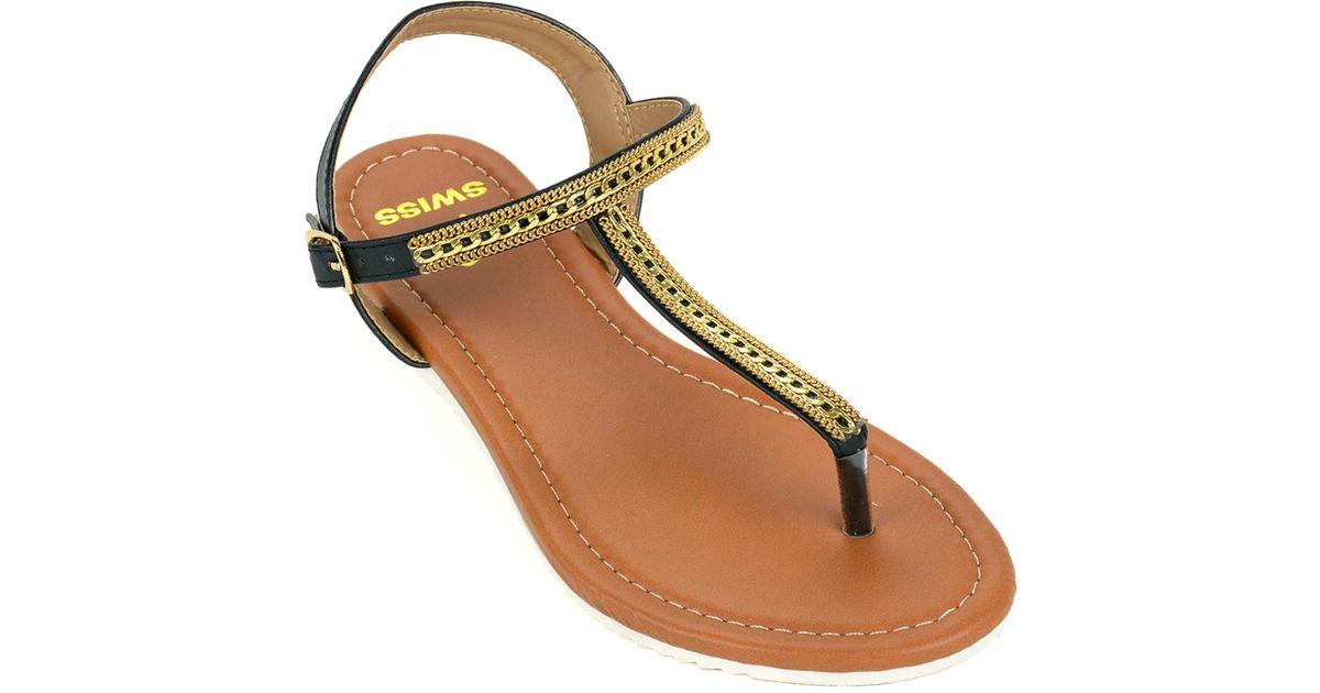 e475a158366 Lyst - Alpine Swiss Womens Dressy Sandals Slingback Thongs Gold T-strap  Flat Flip Flops in Black