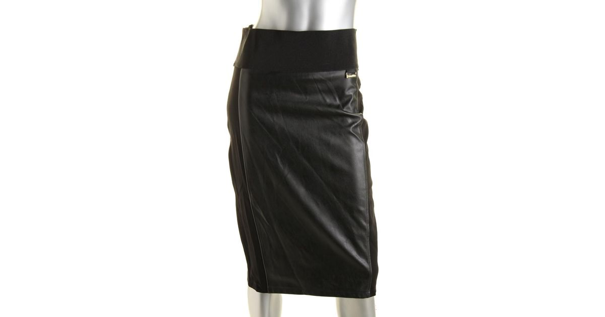 shop for best genuine shoes new release Calvin Klein - Black Womens Faux Leather Power Stretch Pencil Skirt - Lyst