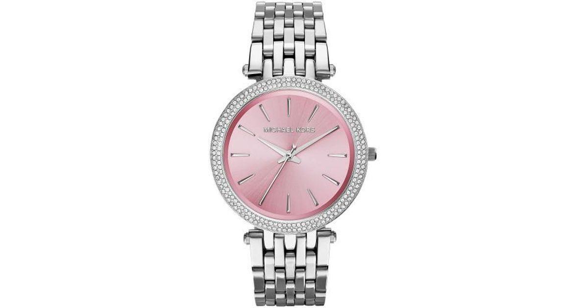 11b1b3a4cfae Lyst - Michael Kors Mk3352 Darci Stainless Steel Watch in Pink