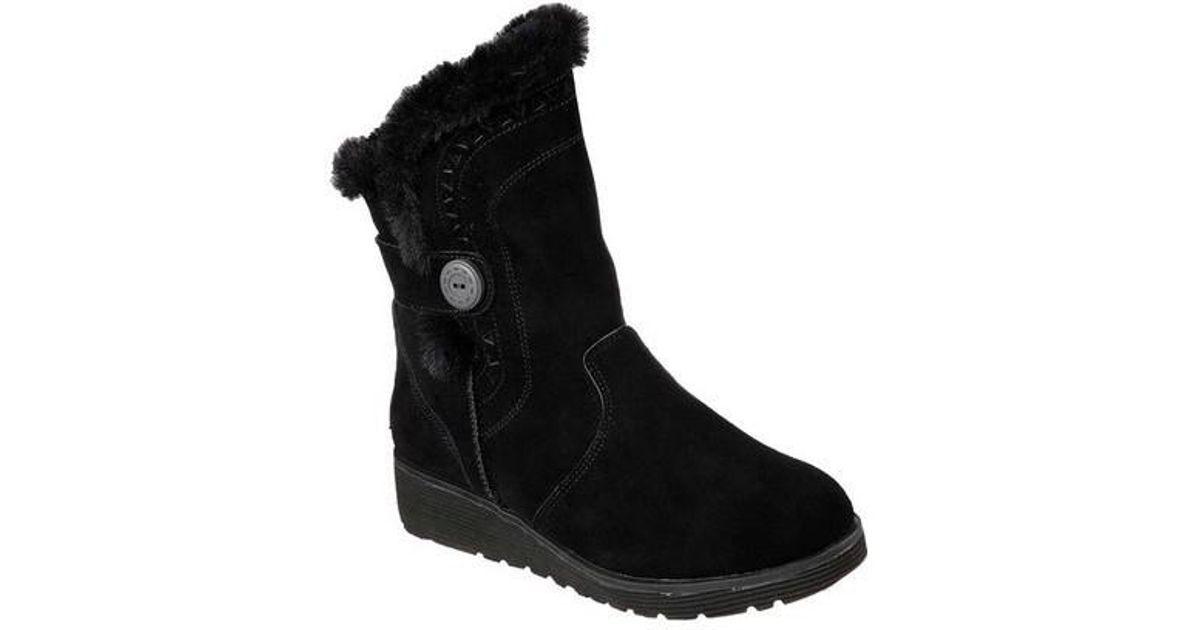 3550e517544 Lyst - Skechers Keepsakes Wedge Cozy Peak Mid Calf Boot in Black
