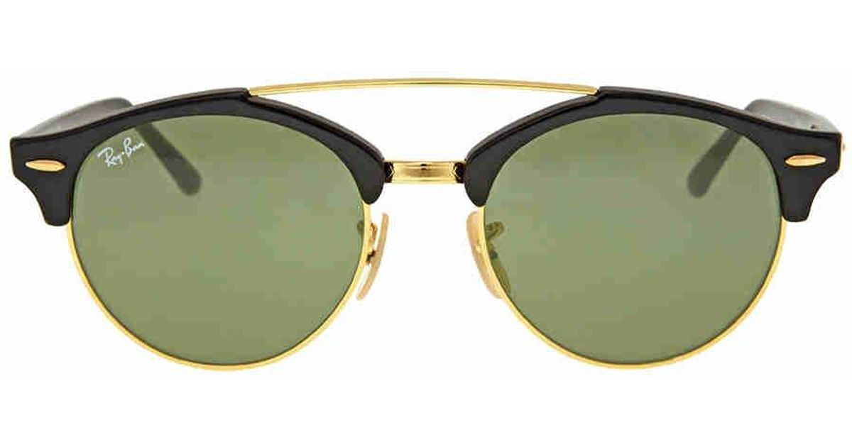 5fa42c8366 Lyst - Ray-Ban Ray Ban Clubround Double Bridge Green Classic G-15  Sunglasses Rb4346-901-51 in Black for Men