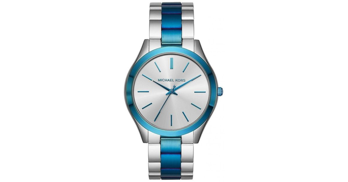 08c92bae9d59a Lyst - Michael Kors Nwt In Box Mk3658 Silver Blue Slim Runway Two-tone Band  42mm Watch in Blue for Men