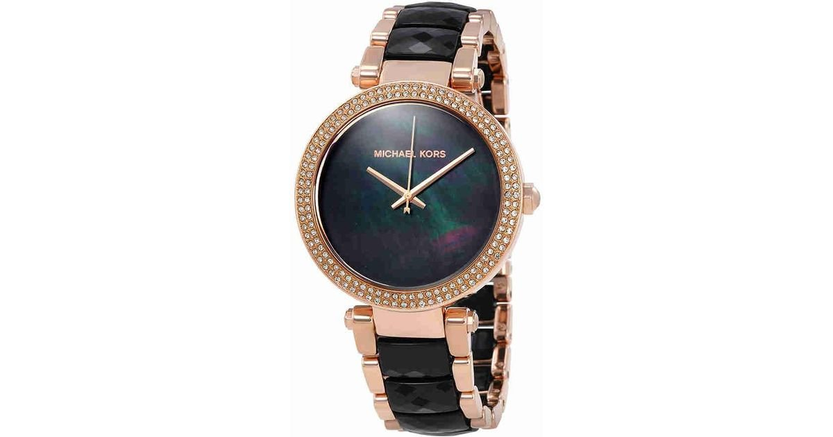 2014a6407f11 Lyst - Michael Kors Parker Black Dial Ladies Watch Mk6414
