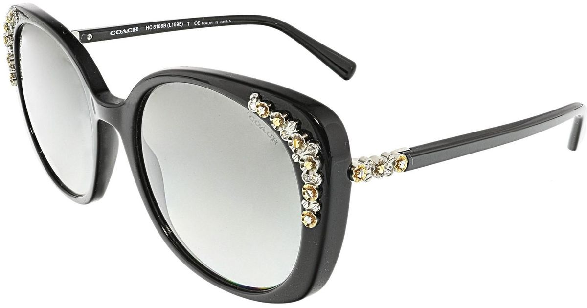 0772089ca3847 ... sale lyst coach hc8186b 500211 56 black round sunglasses in black 7ff32  db133