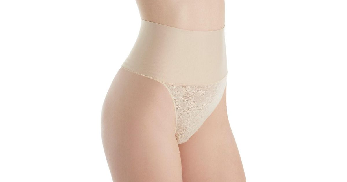 c919efdc51 Lyst - Maidenform Dm0049 Tame Your Tummy Lace Thong in Natural