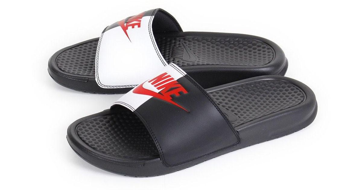 huge discount 8aafa a565f Nike sliders Benassi JDI black game red - white 343880  Look Out For Lyst - Nike  Benassi Jdi in Black for Men ...