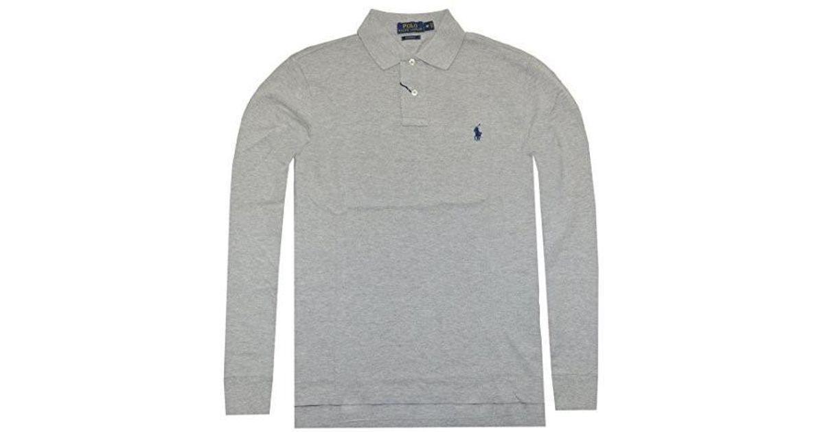 9235b9de ... cheap lyst polo ralph lauren men custom fit long sleeve polo tee xx  large in gray