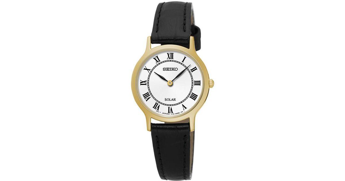 3594aae9d31 Lyst - Seiko Solar White Dial Leather Ladies Watch Sup304