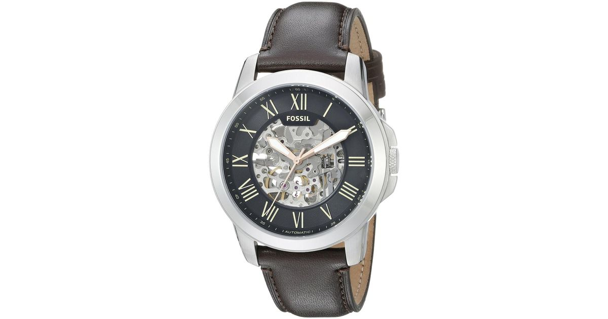 ee11870cc1f Lyst - Fossil Me3100  grant  Automatic Brown Leather Watch in Brown for Men