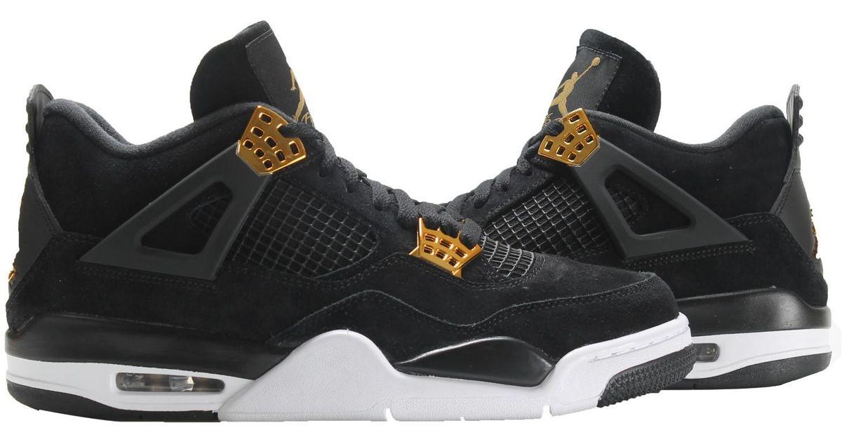 c0b2b349c50f3f Lyst - Nike Air Jordan 4 Retro Black gold-white Basketball Shoes 308497-032  Iv Size 10.5 in Black for Men