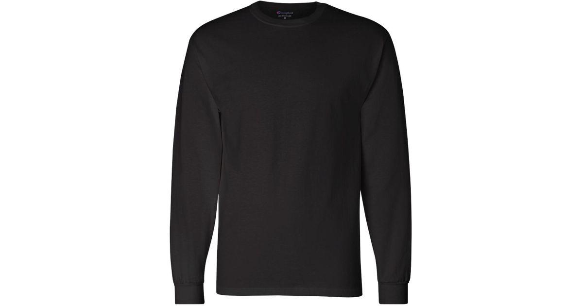 4c0ec0ac75b3 Lyst - Champion 5.2 Oz. Long-sleeve Tagless T-shirt Cc8c in Black for Men