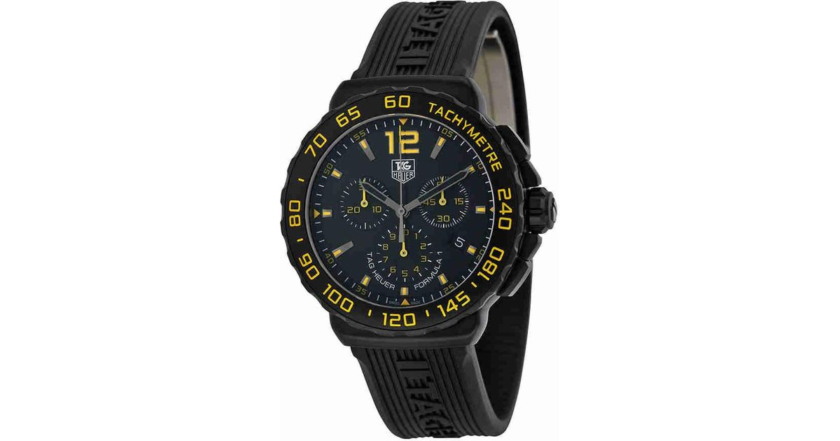 74813259343 Lyst - Tag Heuer Formula 1 Chronograph Black And Yellow Dial Black Rubber  Watch Cau111eft6024 in Black for Men