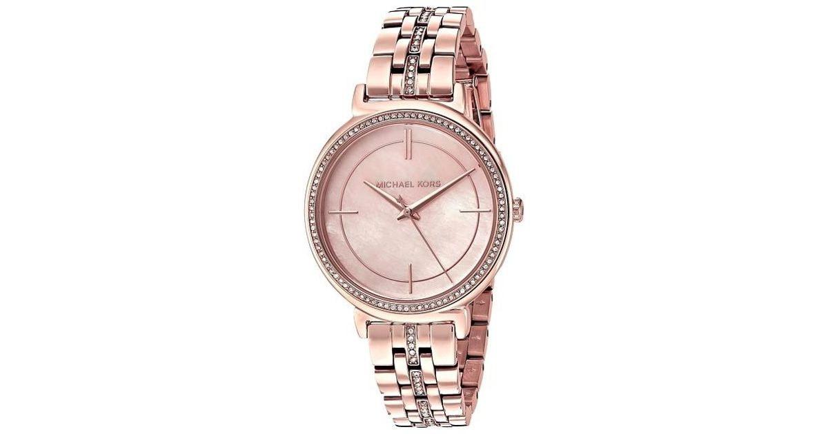 b103d82c5d4e Lyst - Michael Kors Cinthia Rose Gold Mother Of Pearl Dial Ladies Watch  Mk3643 in Pink
